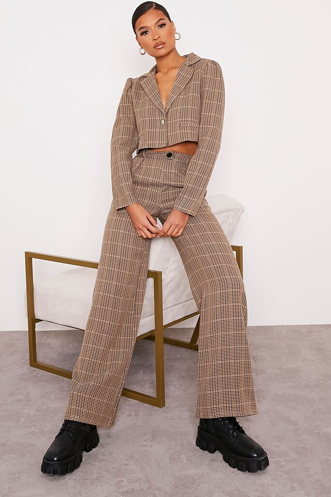 Brown Checked Wide Leg Trousers view 3