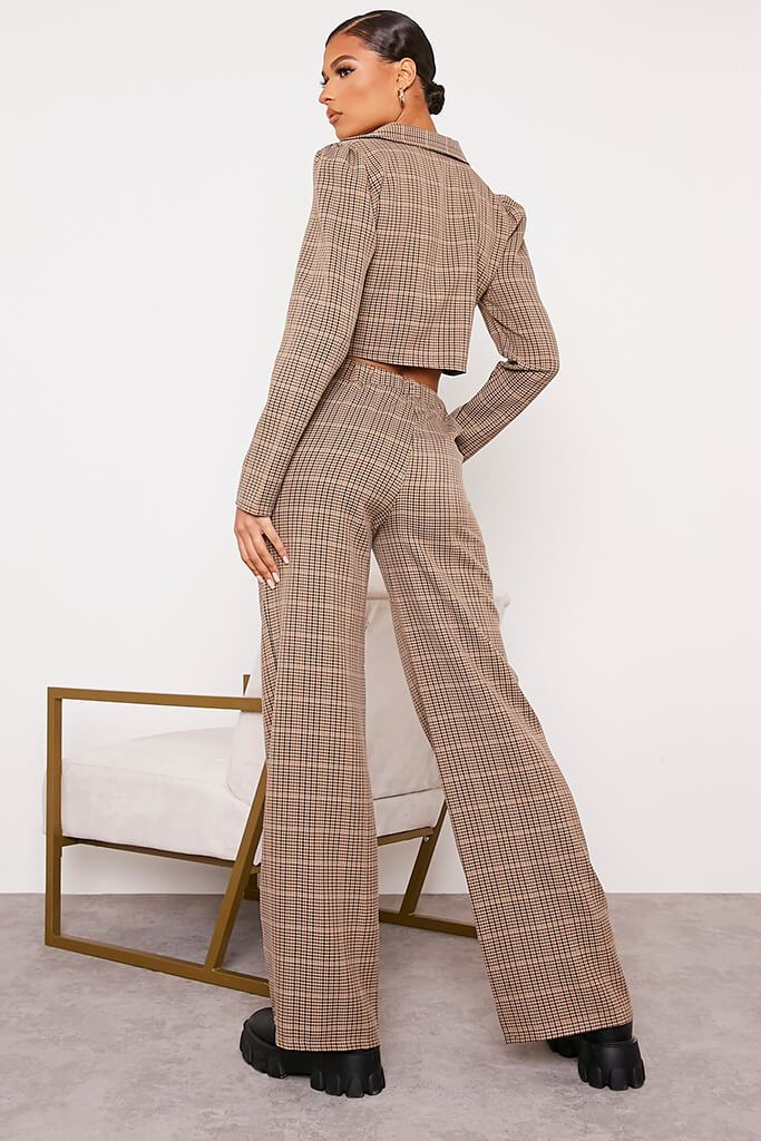 Brown Checked Wide Leg Trousers view 4