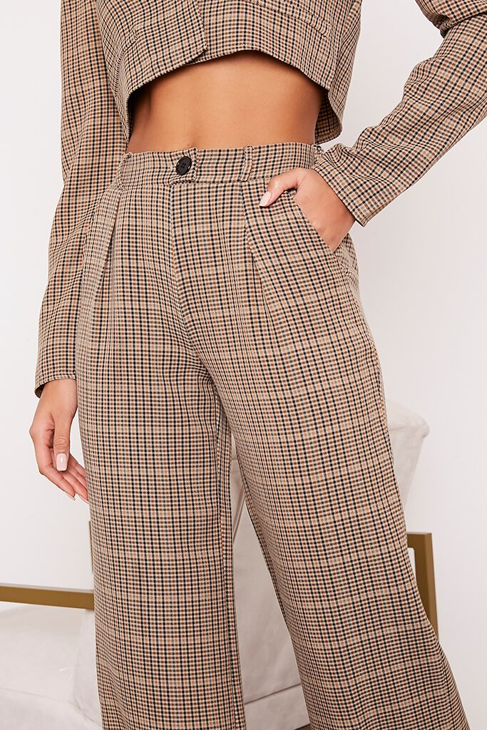 Brown Checked Wide Leg Trousers view 5