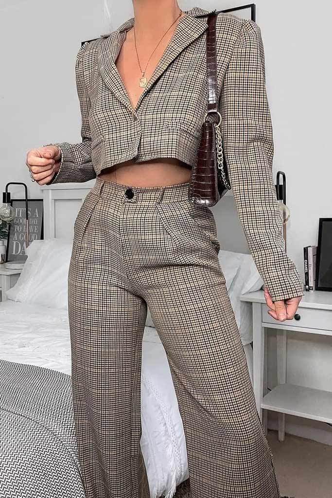 Brown Checked Wide Leg Trousers