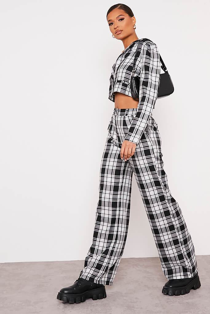 Black & White Checked Wide Leg Trousers view 3