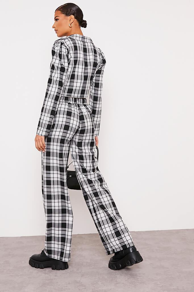Black & White Checked Wide Leg Trousers view 4