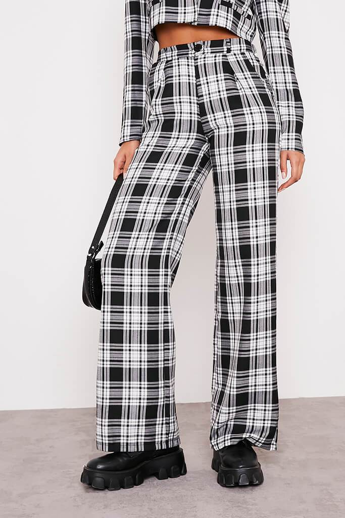 Black & White Checked Wide Leg Trousers view 2