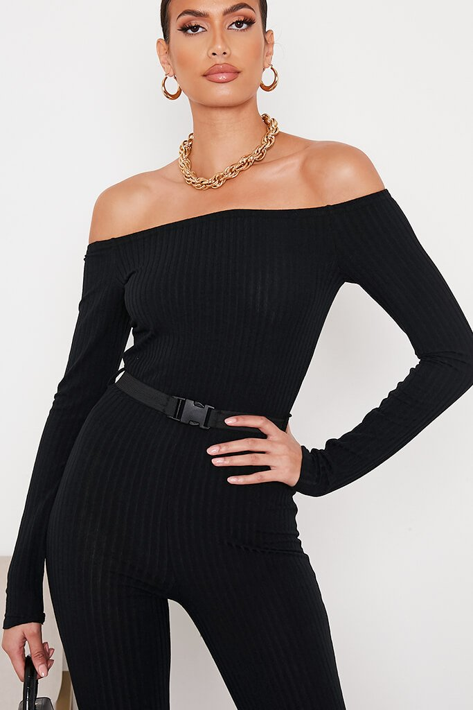 Black Ribbed Bardot Buckle Belt Jumpsuit view 2