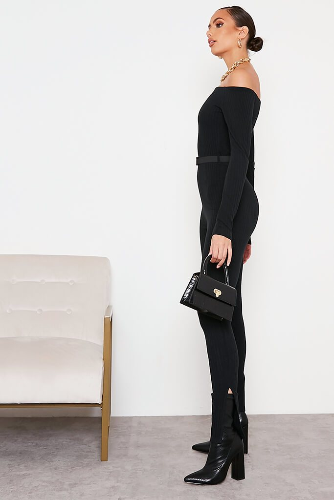 Black Ribbed Bardot Buckle Belt Jumpsuit view 3