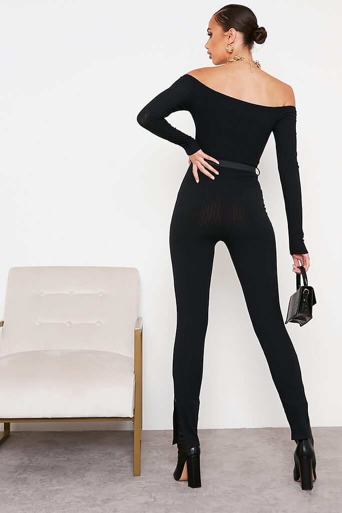 Black Ribbed Bardot Buckle Belt Jumpsuit view 4