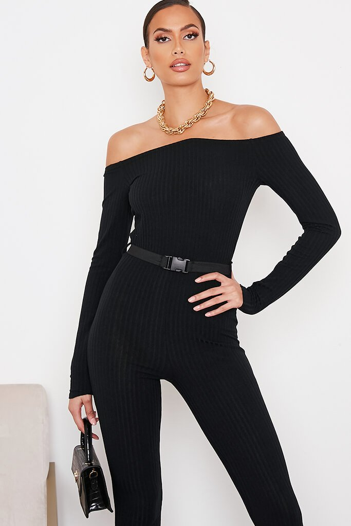 Black Ribbed Bardot Buckle Belt Jumpsuit view 5