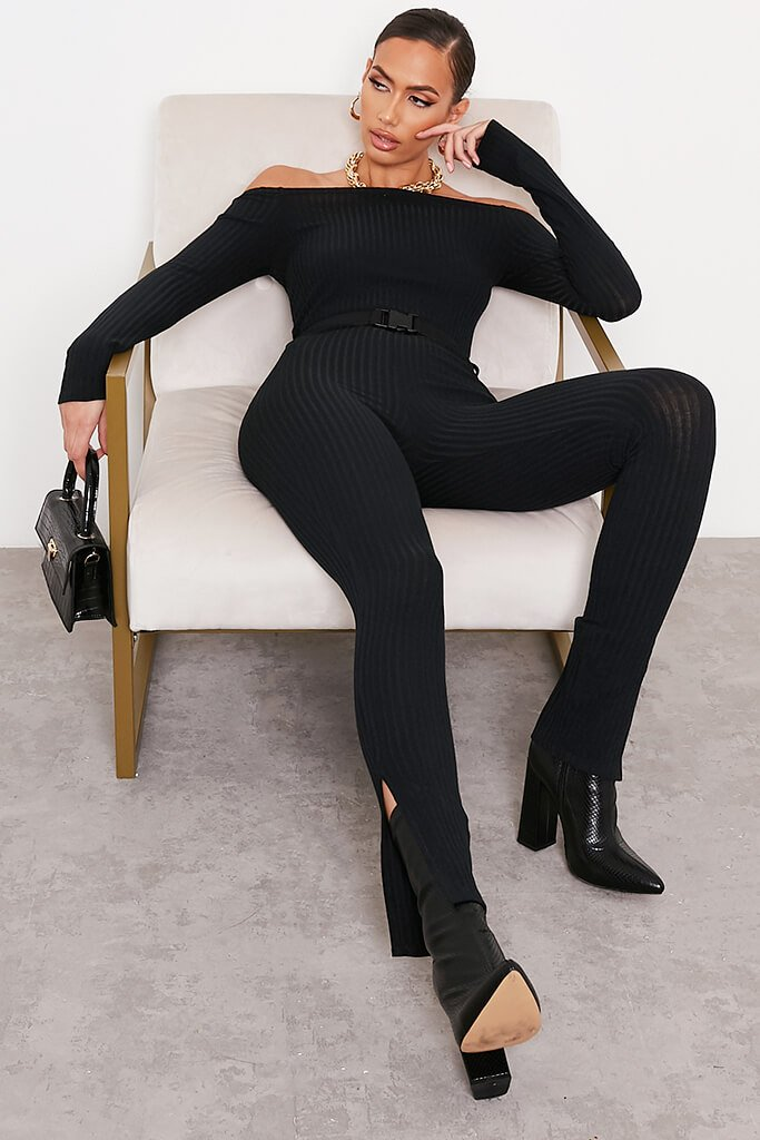 Black Ribbed Bardot Buckle Belt Jumpsuit