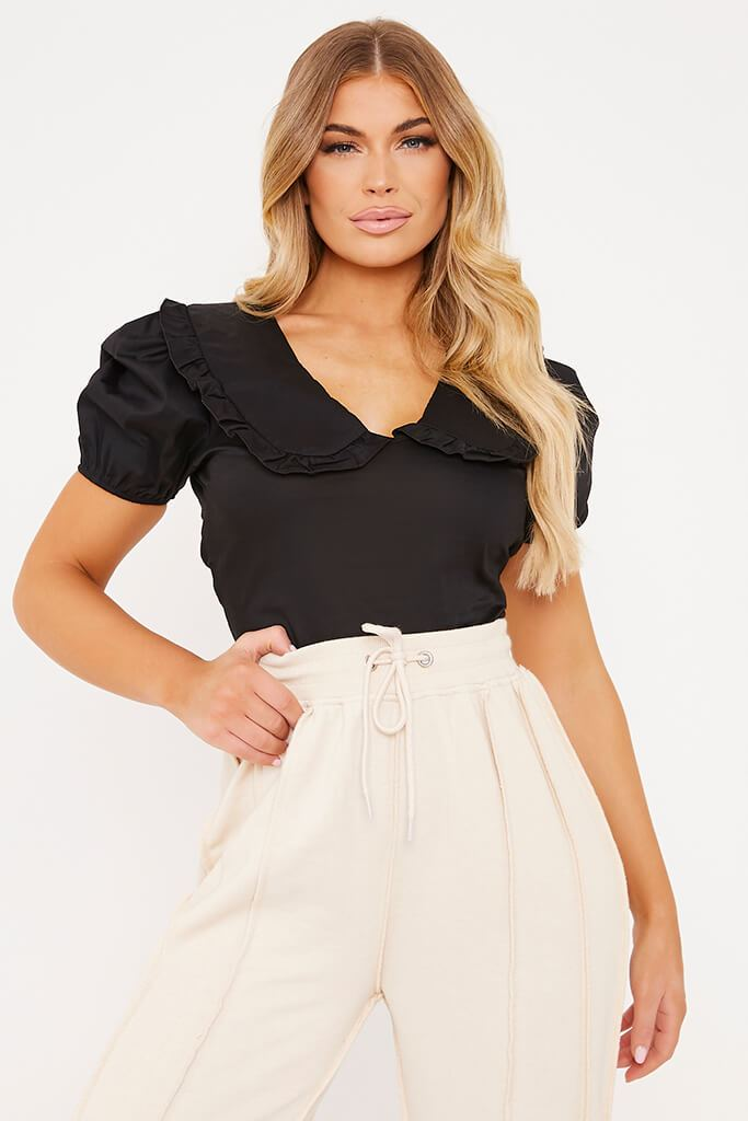 Black Poplin Peter Pan Collar Puff Sleeve Crop Blouse
