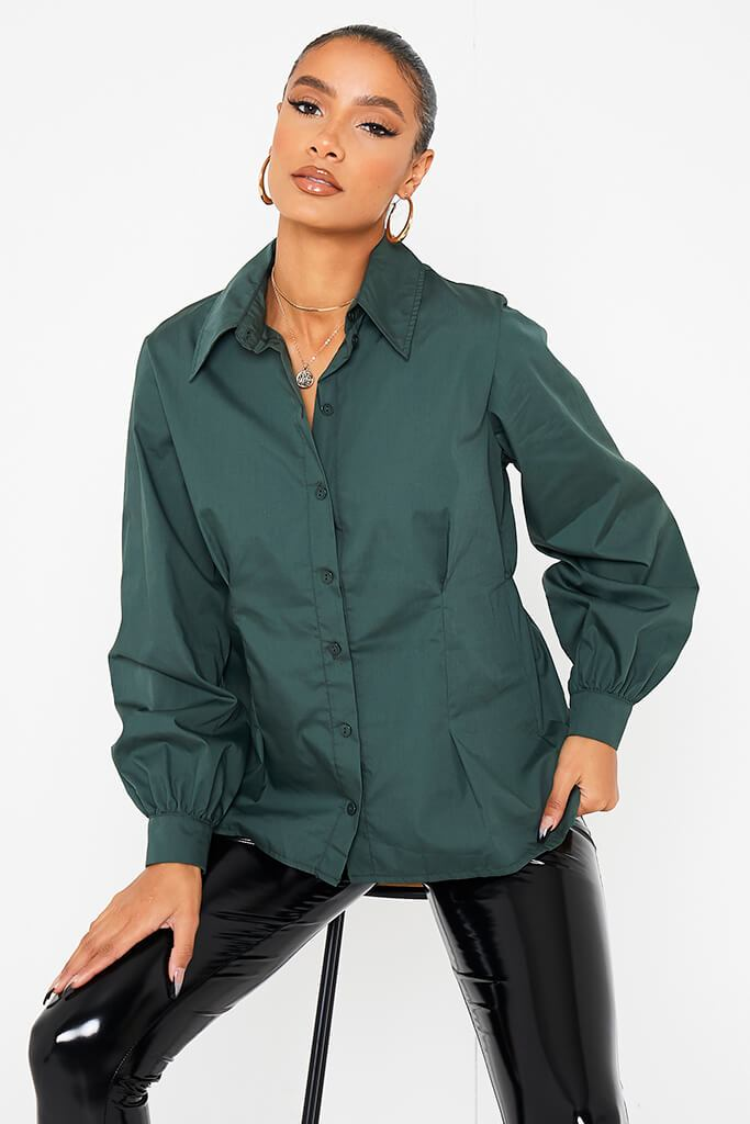 Khaki Poplin Pleated Back Shirt