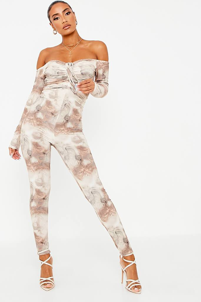 Stone Printed Slinky Ruched Front Skinny Leg Jumpsuit