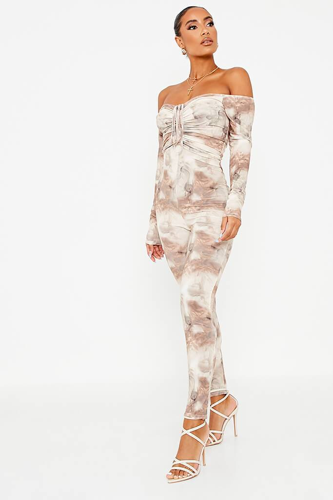 Stone Printed Slinky Ruched Front Skinny Leg Jumpsuit view 3