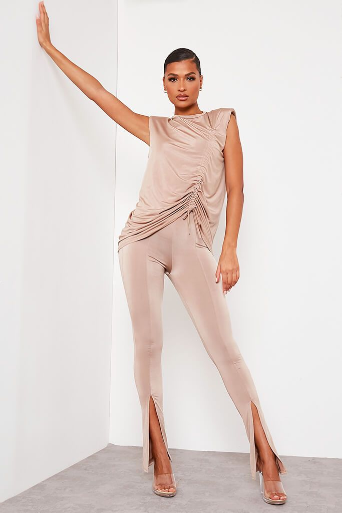 Taupe Slinky Split Front Leggings view main view