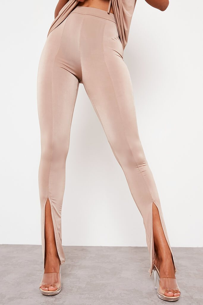 Taupe Slinky Split Front Leggings view 2