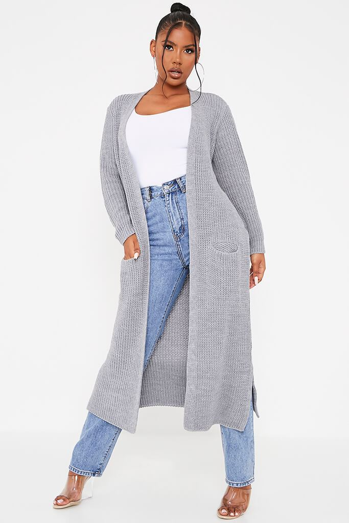 Grey Maxi Knitted Cardigan With Pockets