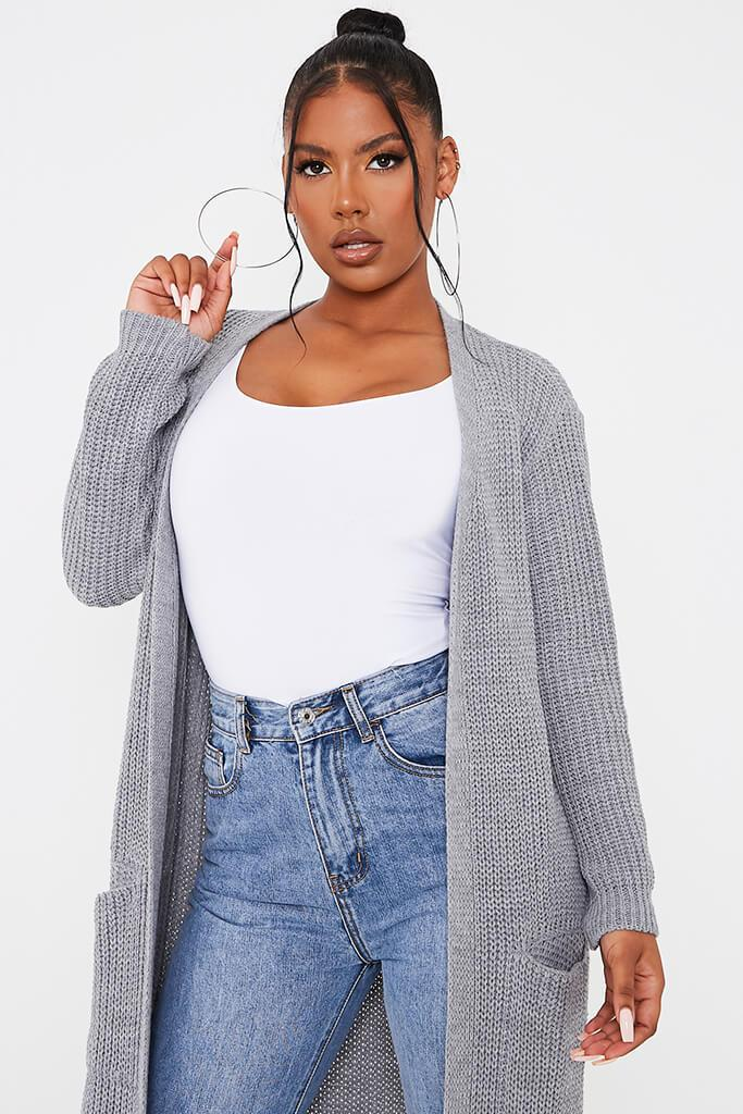 Grey Maxi Knitted Cardigan With Pockets view 2