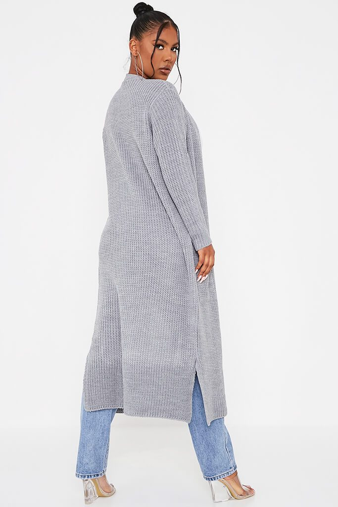 Grey Maxi Knitted Cardigan With Pockets view 4