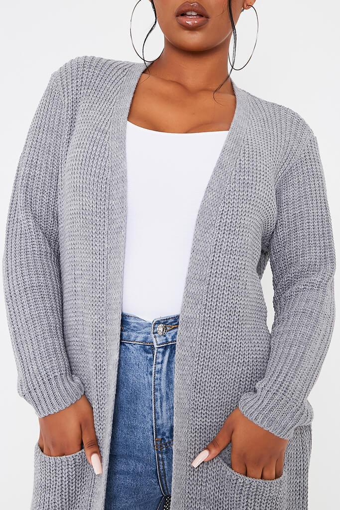 Grey Maxi Knitted Cardigan With Pockets view 5