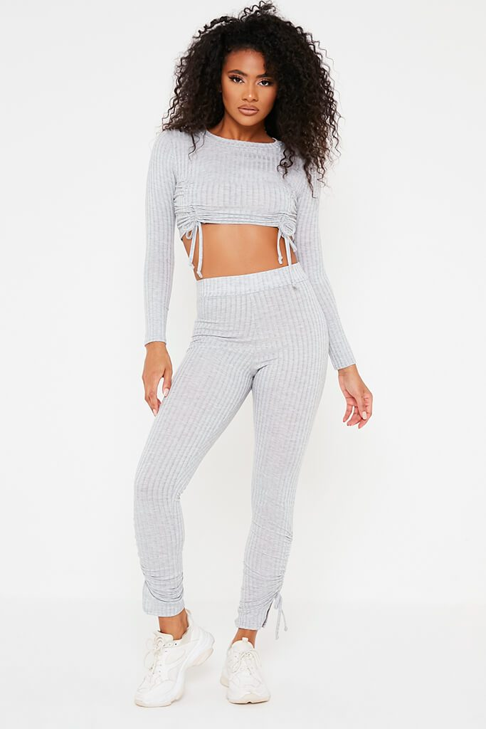 Grey Rib Ruched Crop Top And Legging Set view 2