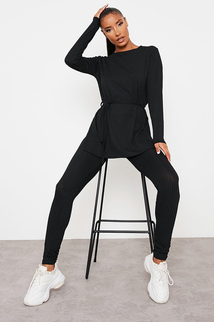 Black Ribbed Belted Crew Neck Lounge Set view main view