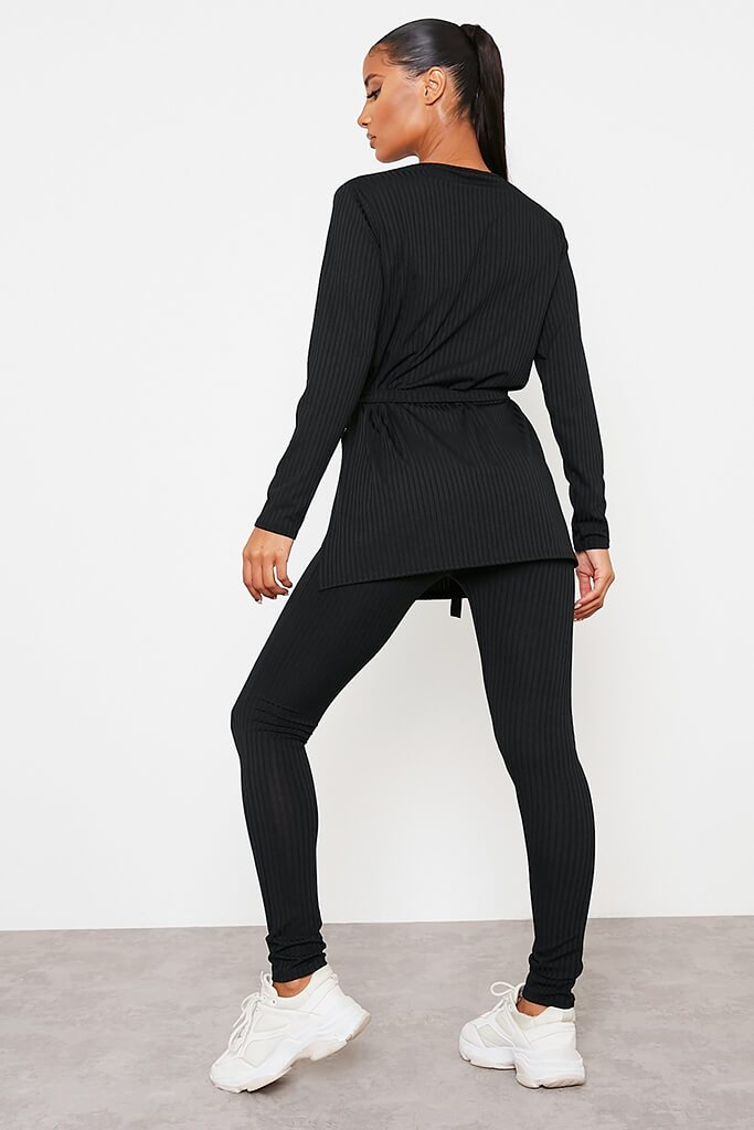 Black Ribbed Belted Crew Neck Lounge Set view 3