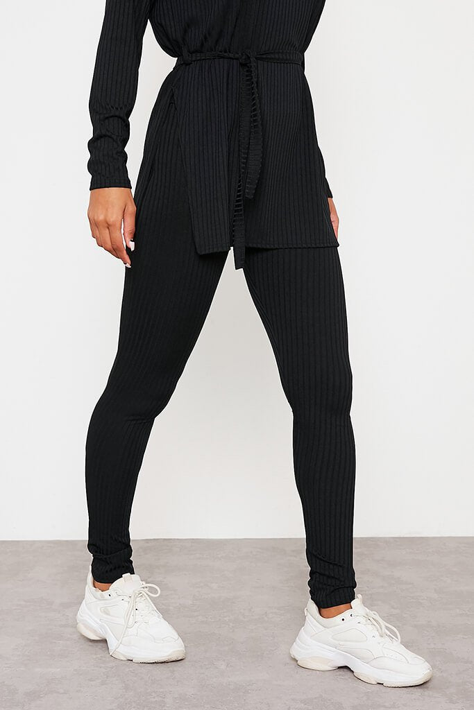 Black Ribbed Belted Crew Neck Lounge Set view 5