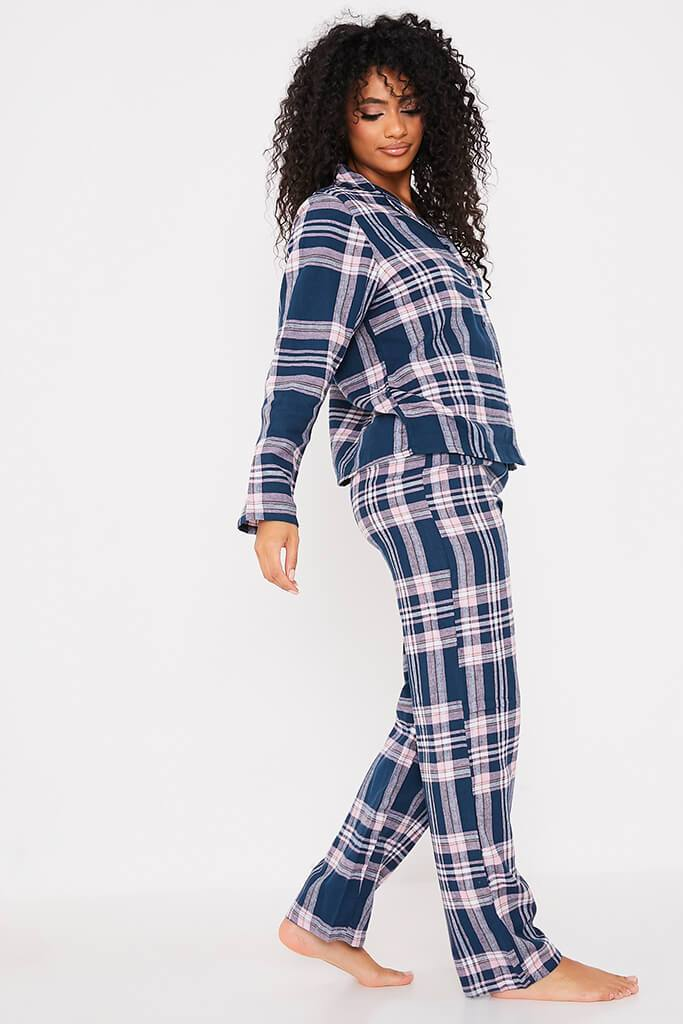 Navy Flannel Check Pyjama Set view 3