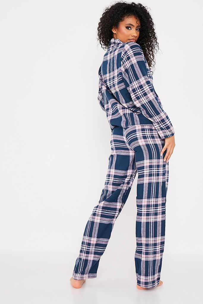 Navy Flannel Check Pyjama Set view 4