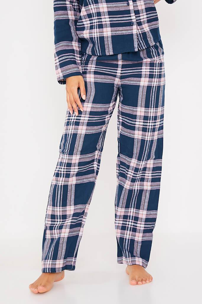 Navy Flannel Check Pyjama Set view 2