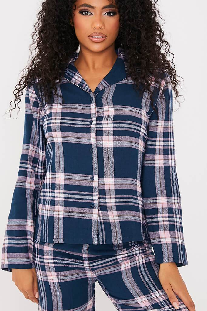 Navy Flannel Check Pyjama Set view 5