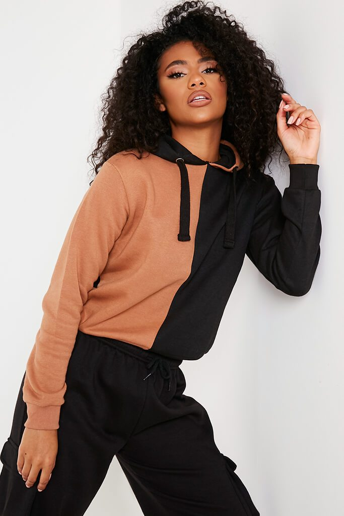 Camel Contrast Block Oversized Hoodie view main view