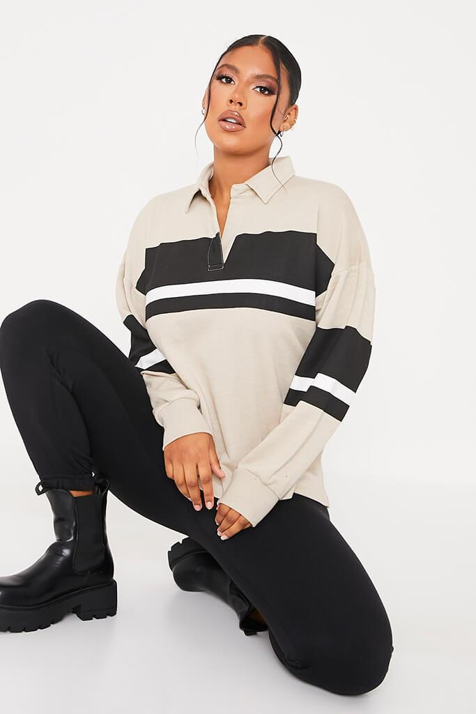 Stone Loopback Contrast Stripe Oversized Rugby Top