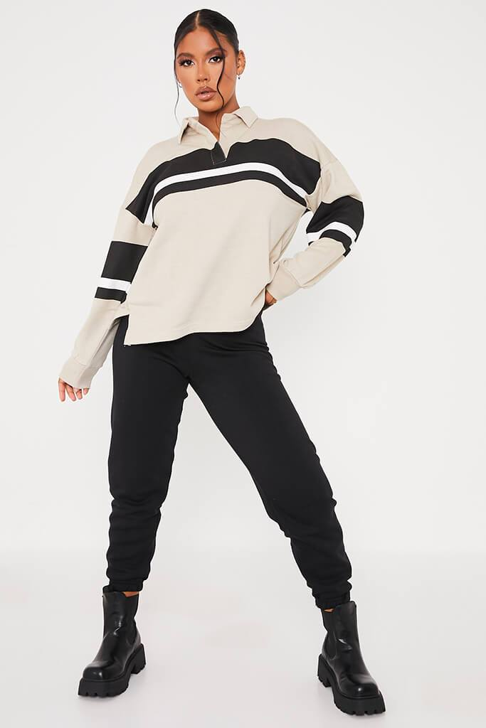 Stone Loopback Contrast Stripe Oversized Rugby Top view 2