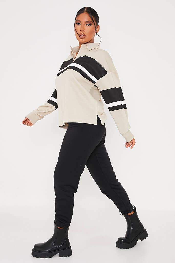 Stone Loopback Contrast Stripe Oversized Rugby Top view 3