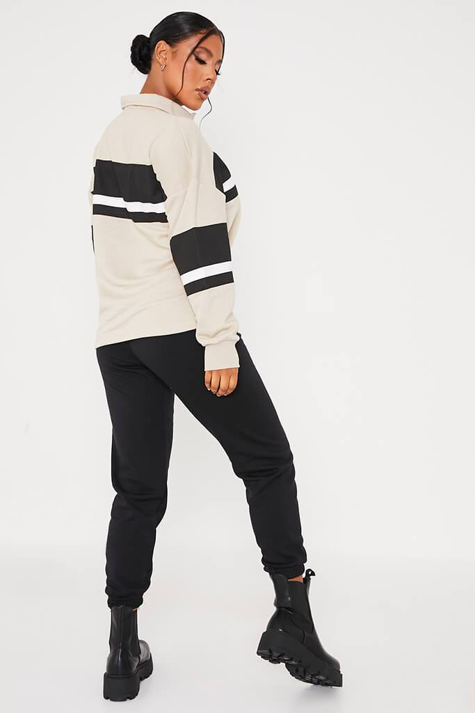 Stone Loopback Contrast Stripe Oversized Rugby Top view 4