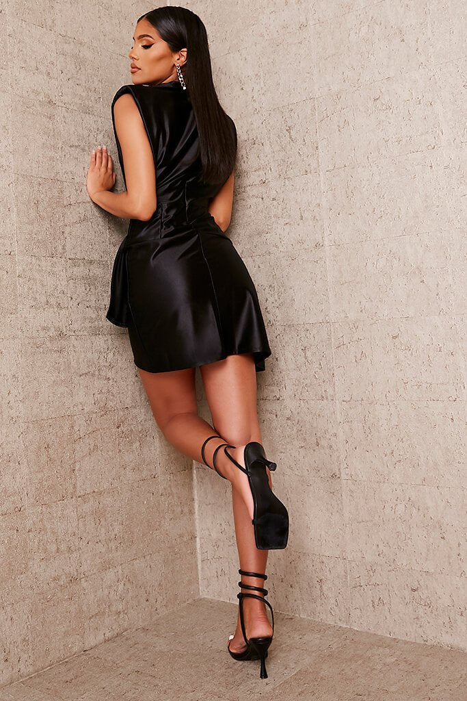 Black Satin Padded Shoulder Wrap Bodycon Dress view 4