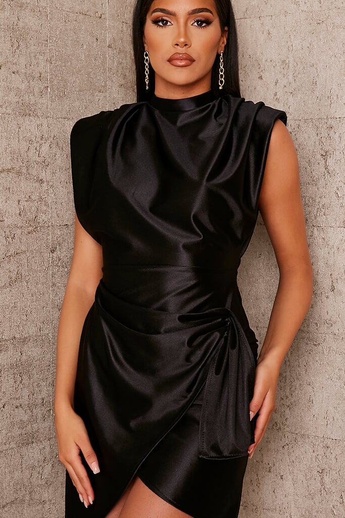 Black Satin Padded Shoulder Wrap Bodycon Dress view 5