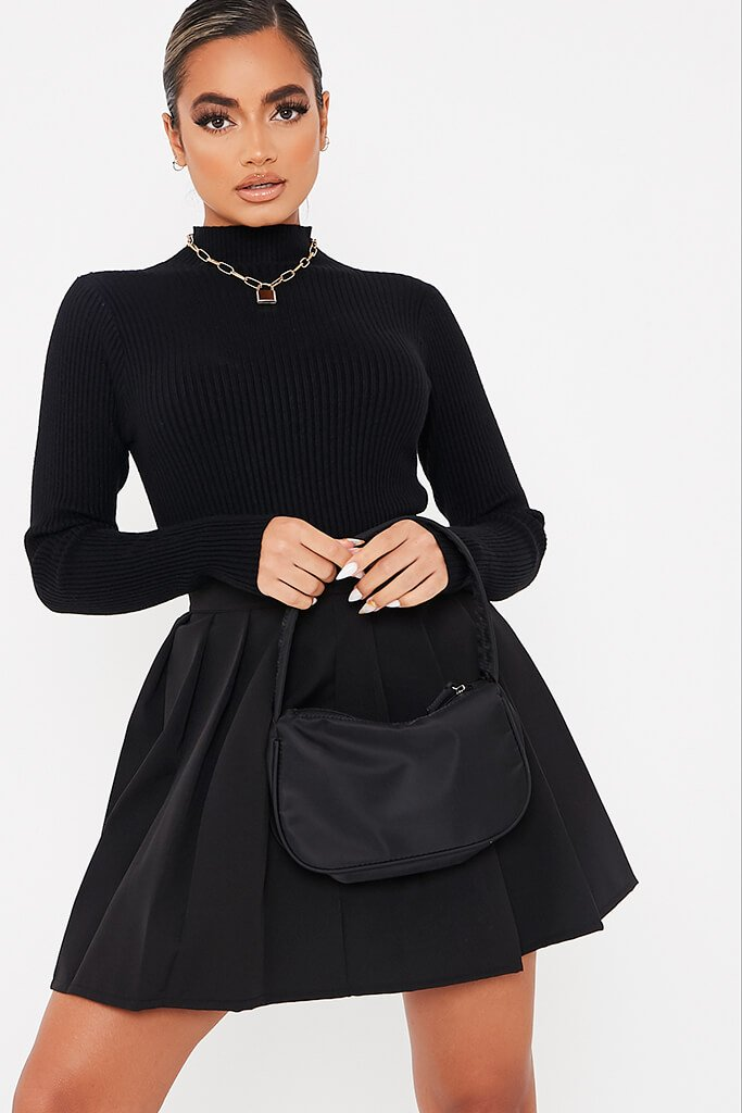 Black Roll Neck Knit Jumper view main view