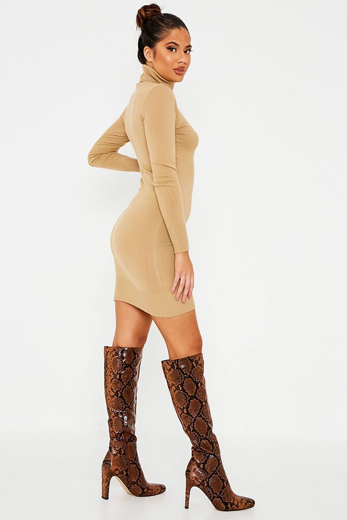 Camel Roll Neck Knit Dress view 3