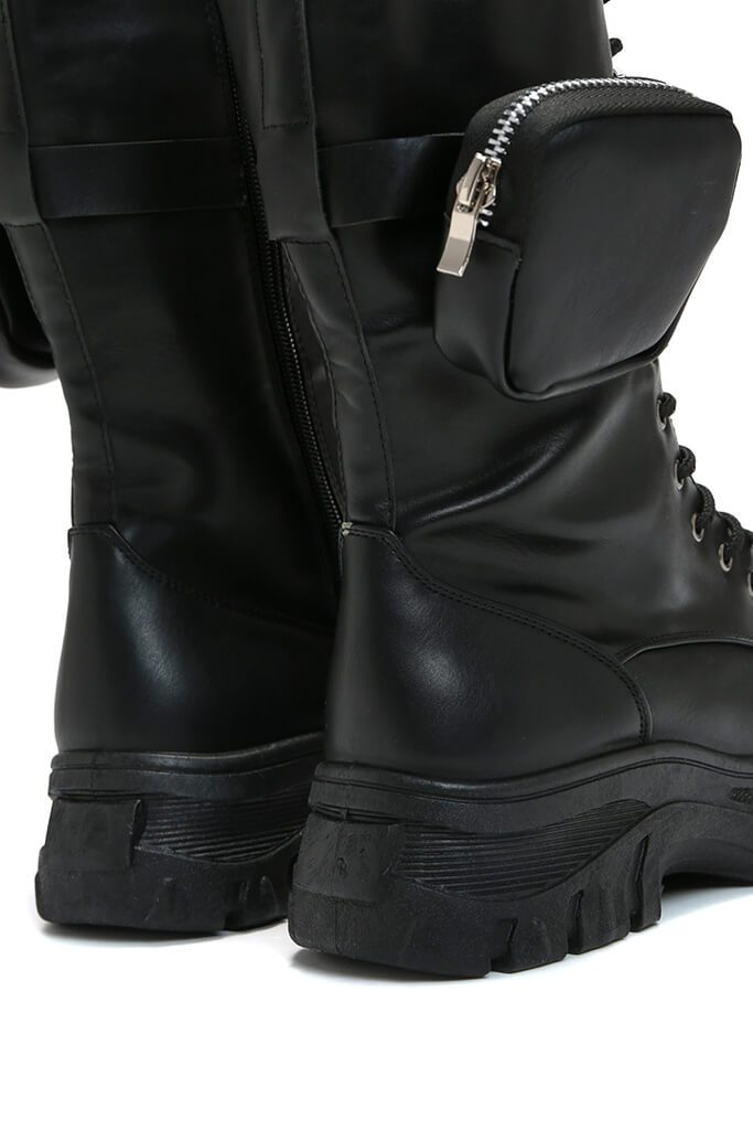 Black Faux Leather Ankle Belt Boots view 2