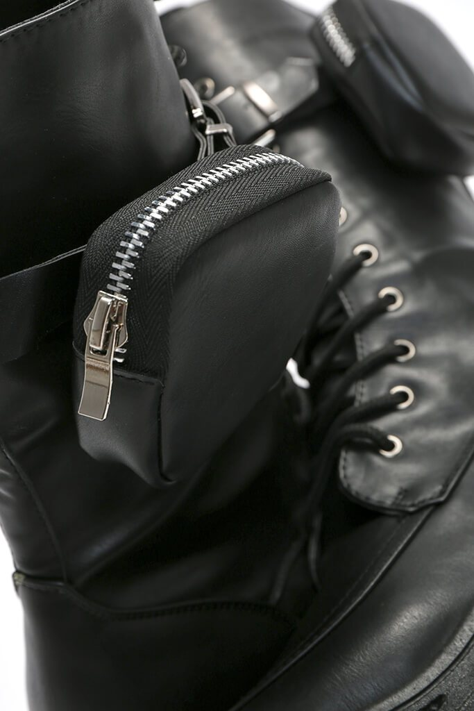 Black Faux Leather Ankle Belt Boots view 3