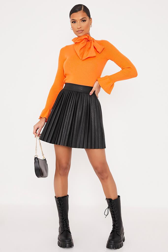 Orange Knitted Bow Neck Top view 2