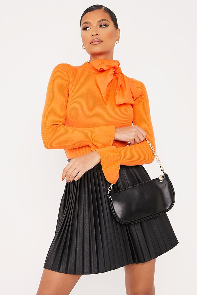 Orange Knitted Bow Neck Top