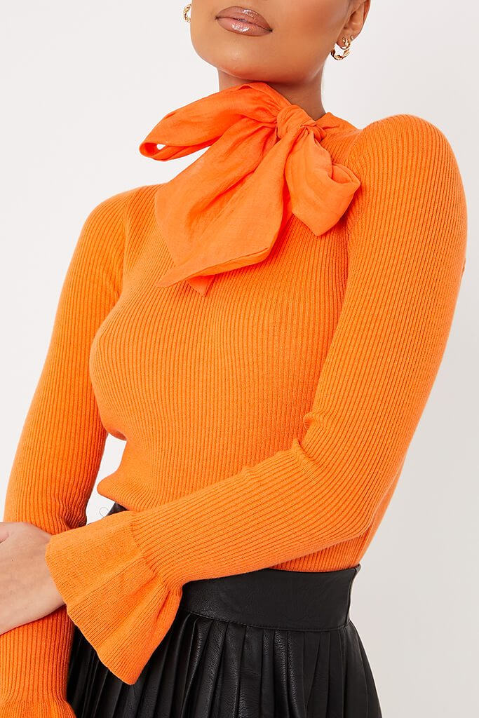 Orange Knitted Bow Neck Top view 5