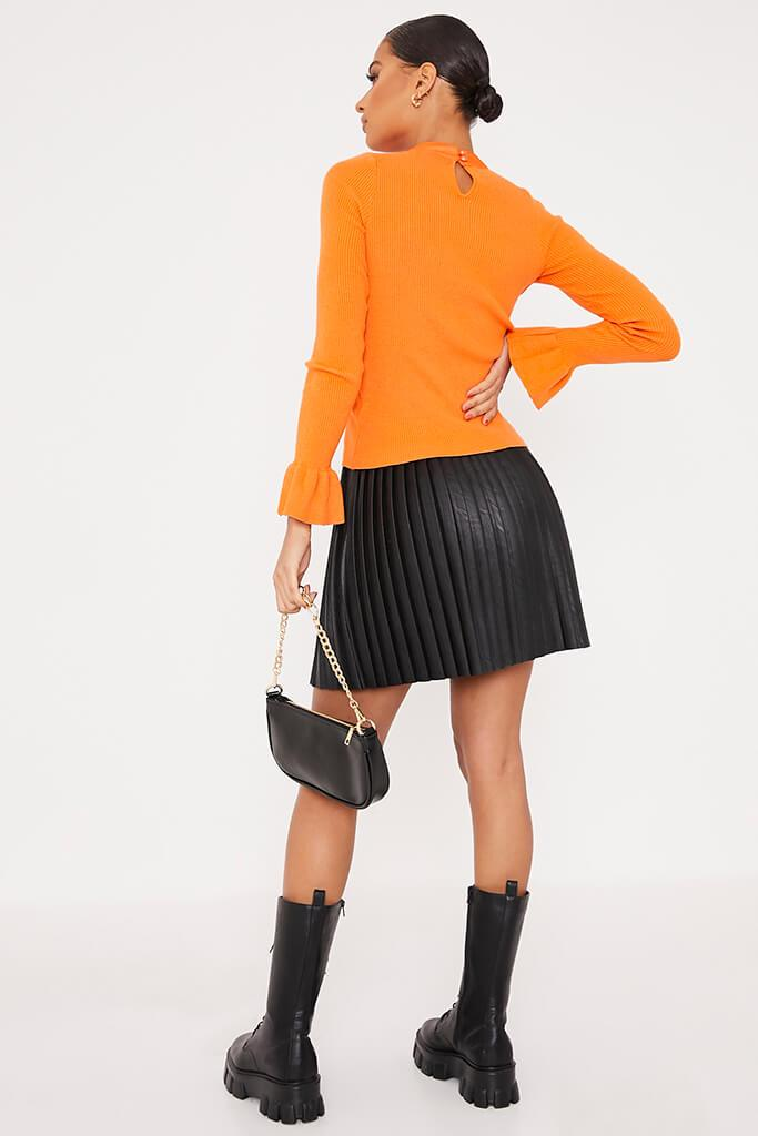 Orange Knitted Bow Neck Top view 4