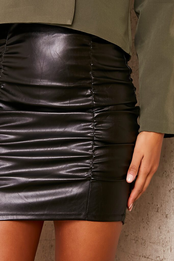 Black Faux Leather Ruched Mini Skirt view 5