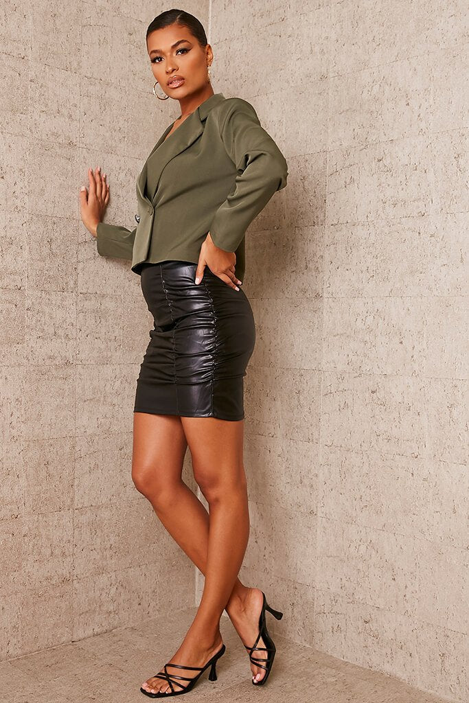 Black Faux Leather Ruched Mini Skirt view 3