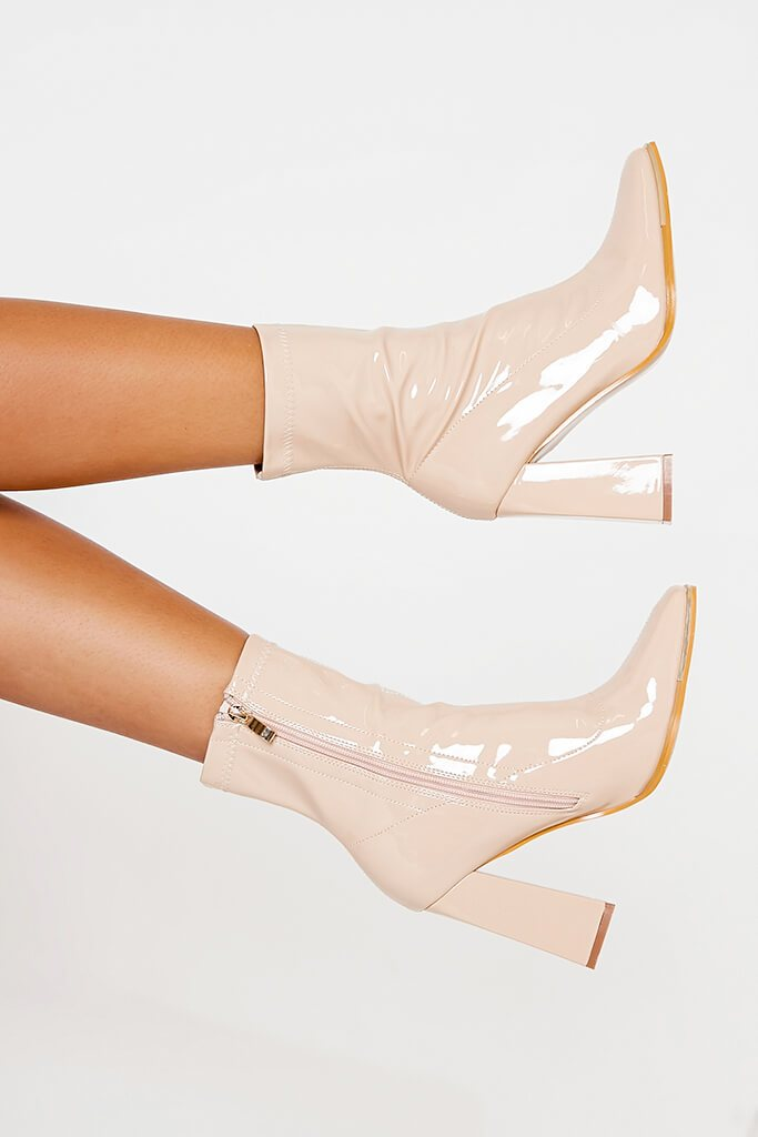 Nude High Shine Steel Cap Top Sock Boots
