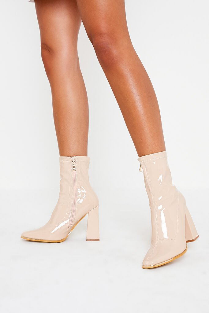 Nude High Shine Steel Cap Top Sock Boots view 2