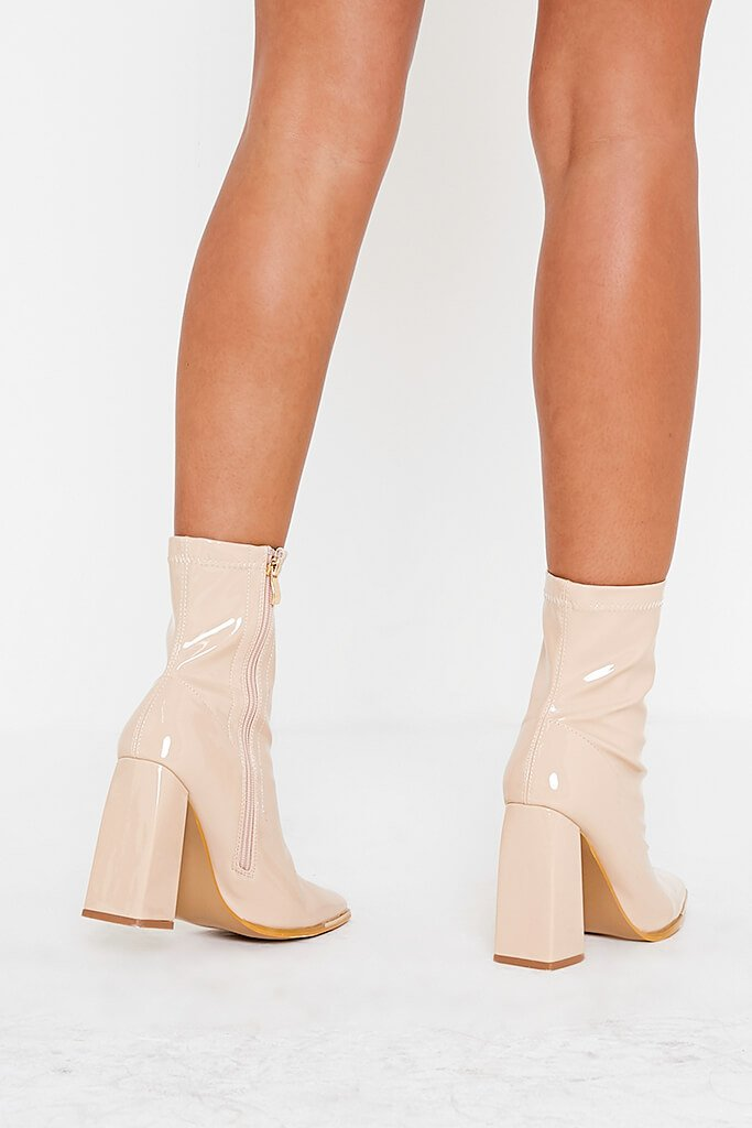 Nude High Shine Steel Cap Top Sock Boots view 3